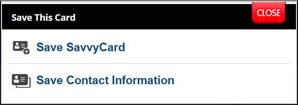New SavvyCard Save Contact Information Option