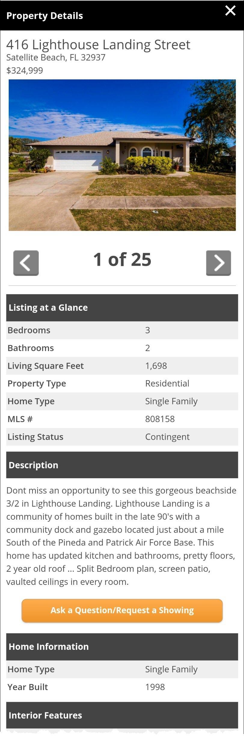 SavvyCard Lead Capture button inside Property SavvyCard property details page.